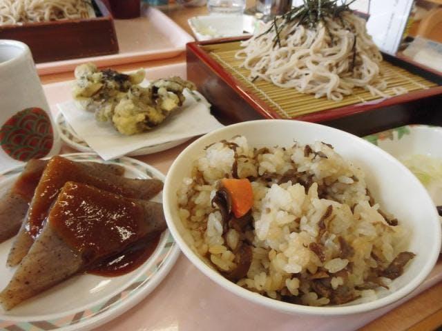 舞茸ご飯と蕎麦定食