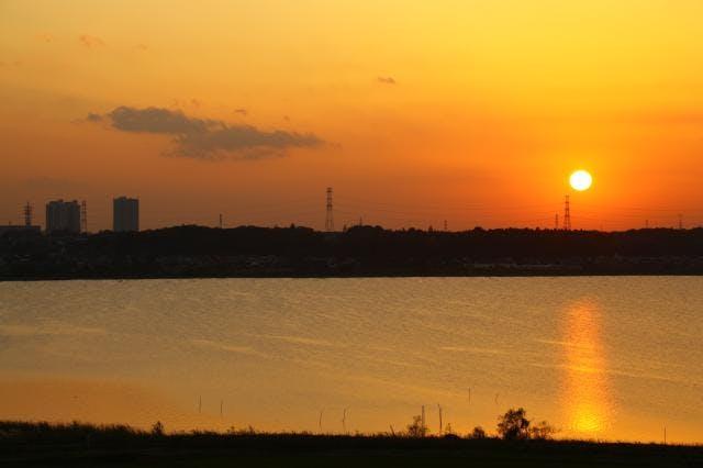 印旛沼サンセットヒルズからの夕景