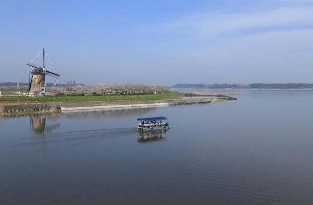 印旛沼と観光船