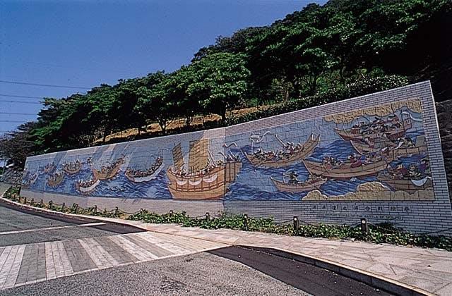 源平壇之浦合戦の壁画