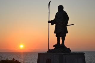 弁慶岬からの夕日