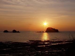 御積島と夕陽
